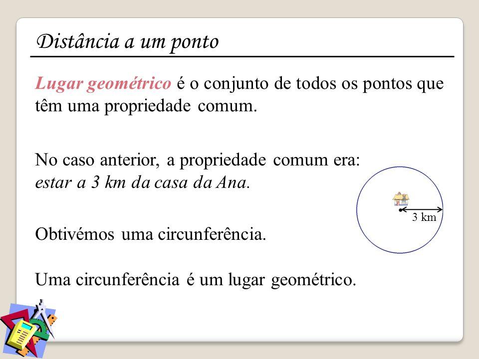 Distância a um ponto Lugar geométrico é o conjunto de todos os pontos que têm uma propriedade comum.