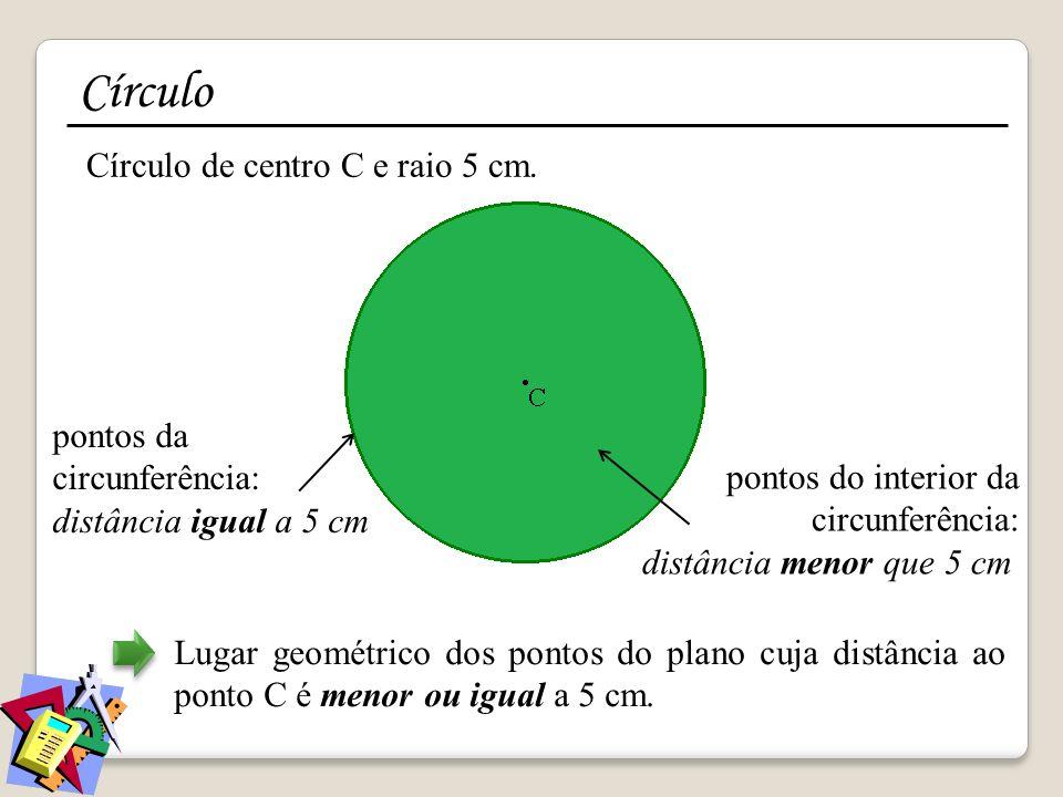 Círculo Círculo de centro C e raio 5 cm. pontos da circunferência: