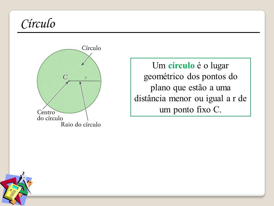 Círculo Um círculo é o lugar geométrico dos pontos do plano que estão a uma distância menor ou igual a r de um ponto fixo C.