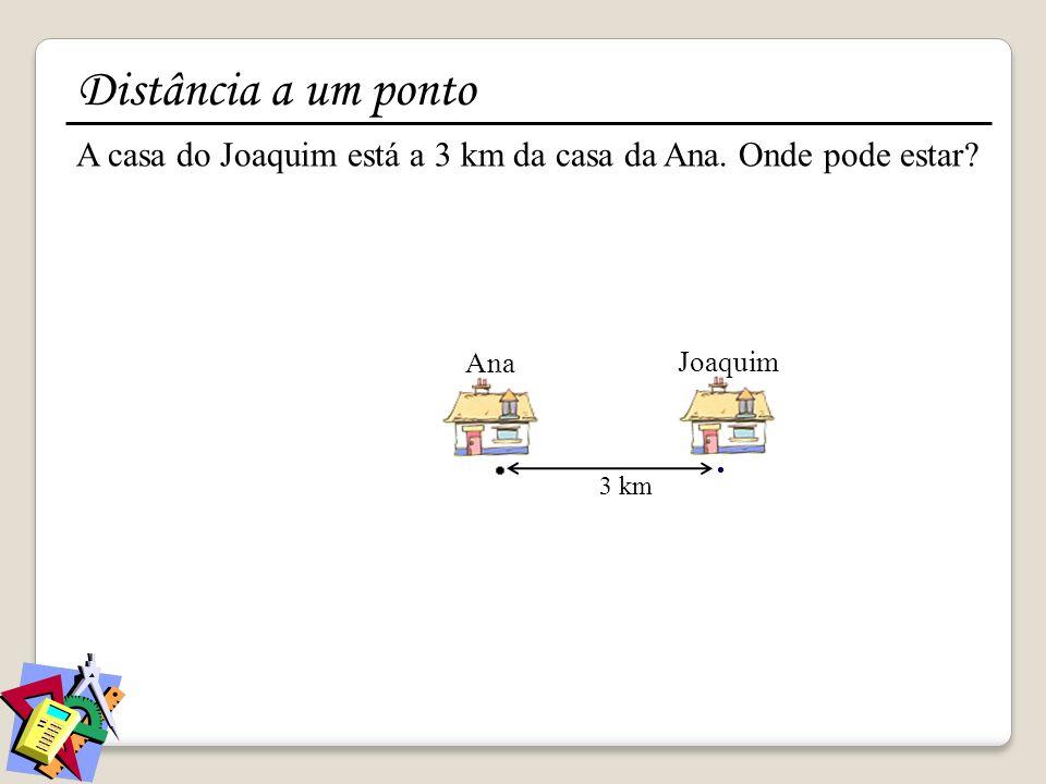 Distância a um ponto A casa do Joaquim está a 3 km da casa da Ana. Onde pode estar Ana. Joaquim.