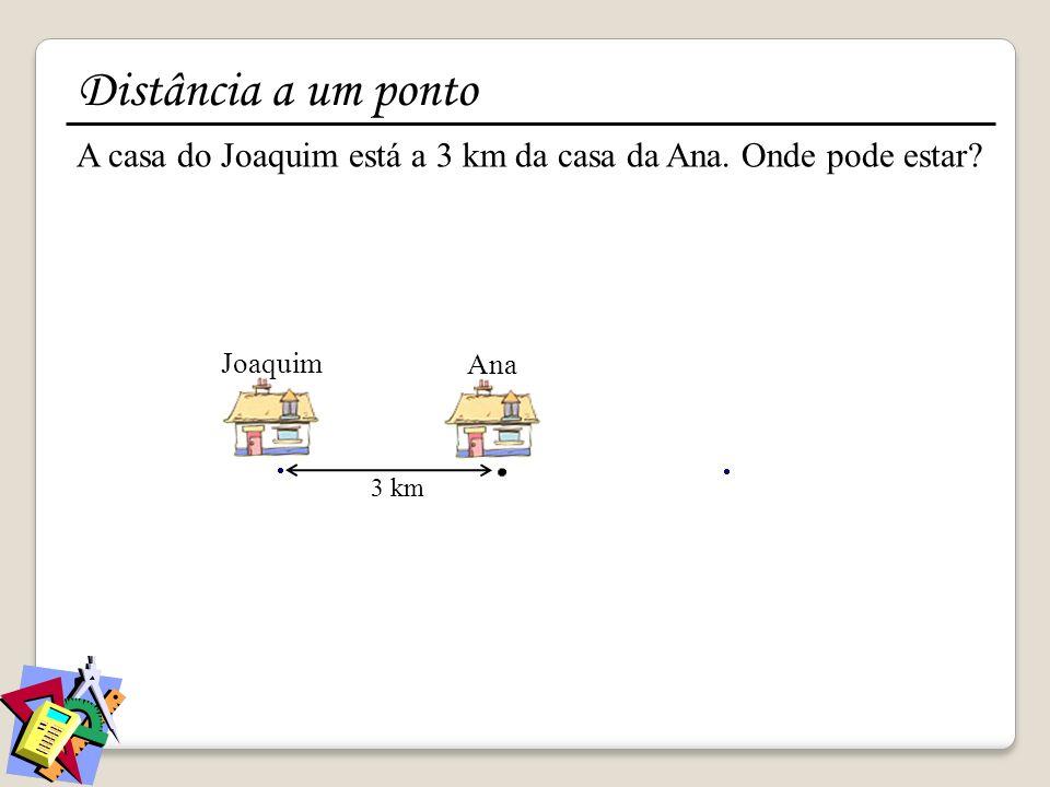 Distância a um ponto A casa do Joaquim está a 3 km da casa da Ana. Onde pode estar Joaquim. Ana.