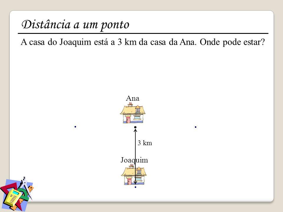 Distância a um ponto A casa do Joaquim está a 3 km da casa da Ana.