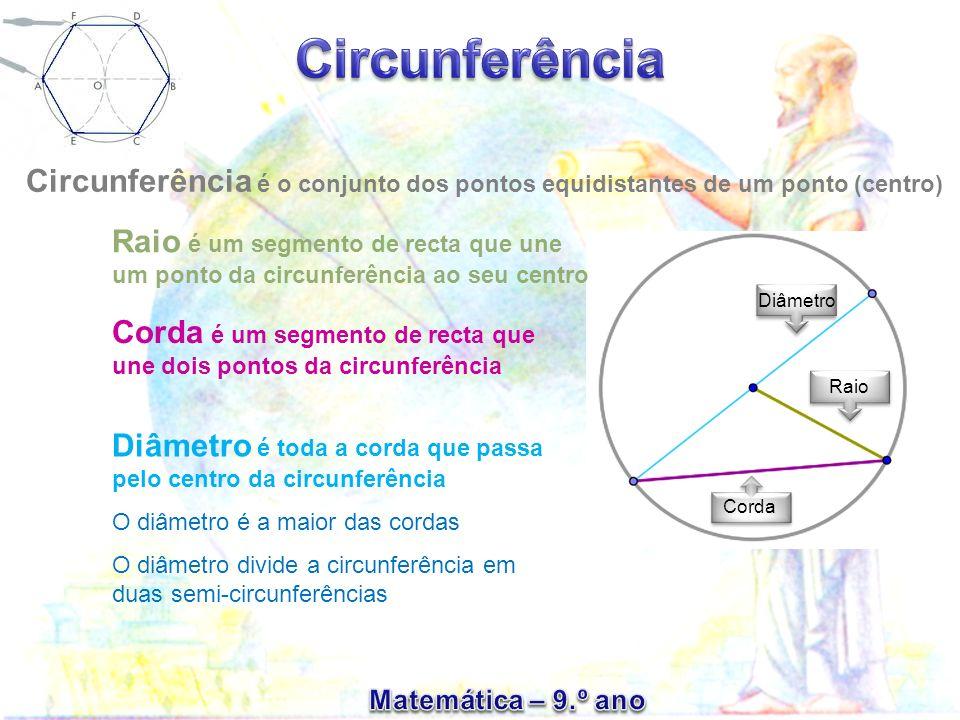Corda é um segmento de recta que une dois pontos da circunferência