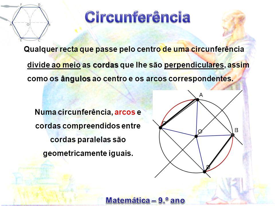 Qualquer recta que passe pelo centro de uma circunferência divide ao meio as cordas que lhe são perpendiculares, assim como os ângulos ao centro e os arcos correspondentes.