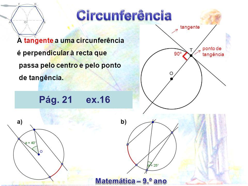 tangenteA tangente a uma circunferência é perpendicular à recta que passa pelo centro e pelo ponto de tangência.