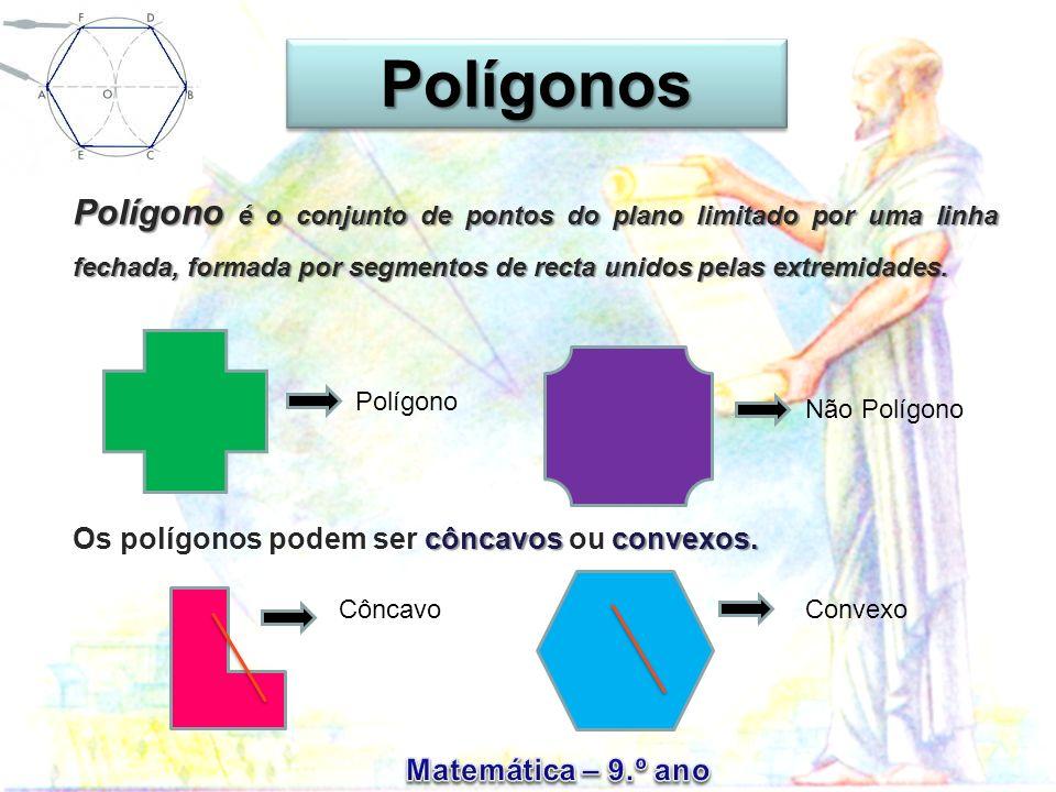 Polígonos Polígono é o conjunto de pontos do plano limitado por uma linha fechada, formada por segmentos de recta unidos pelas extremidades.