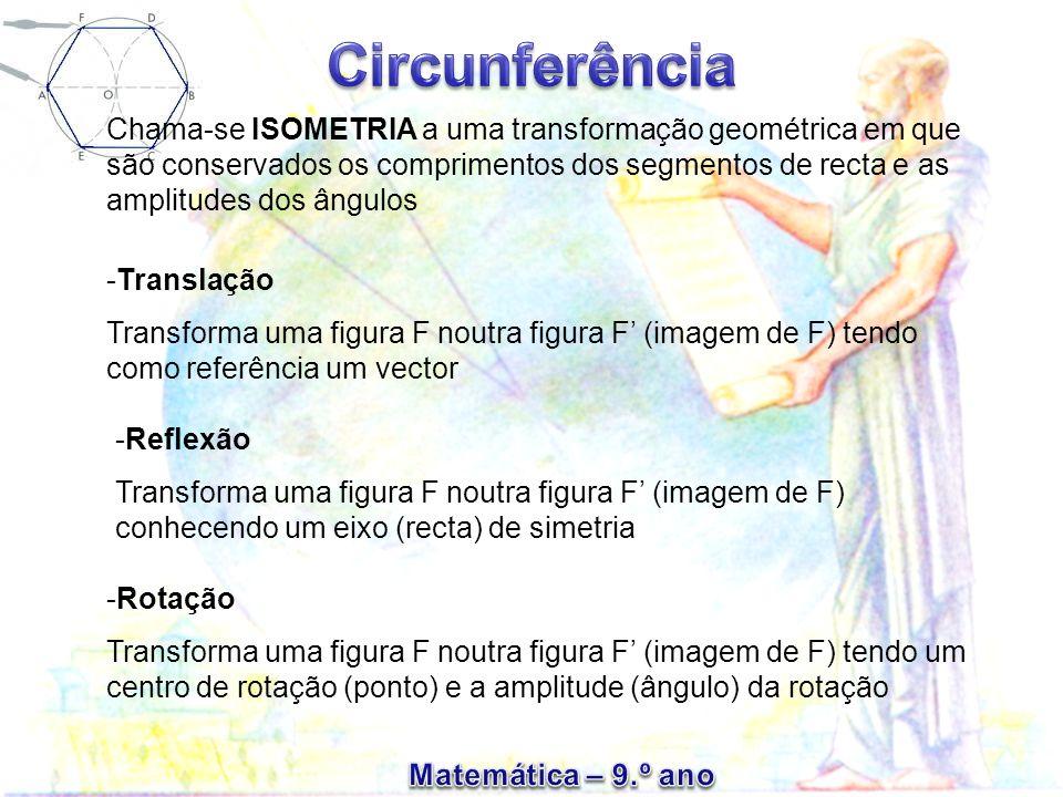 Chama-se ISOMETRIA a uma transformação geométrica em que são conservados os comprimentos dos segmentos de recta e as amplitudes dos ângulos