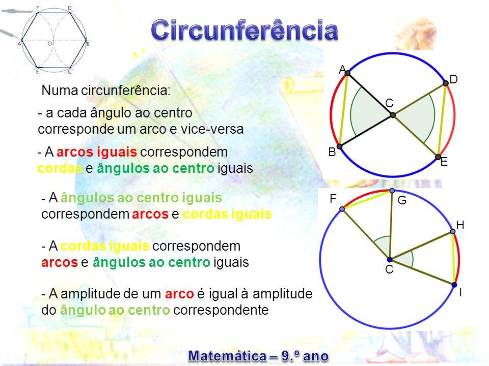 - a cada ângulo ao centro corresponde um arco e vice-versa