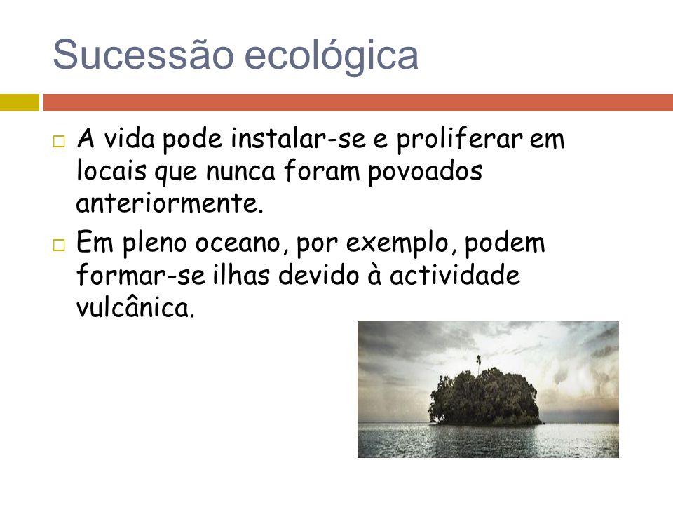 Sucessão ecológica A vida pode instalar-se e proliferar em locais que nunca foram povoados anteriormente.
