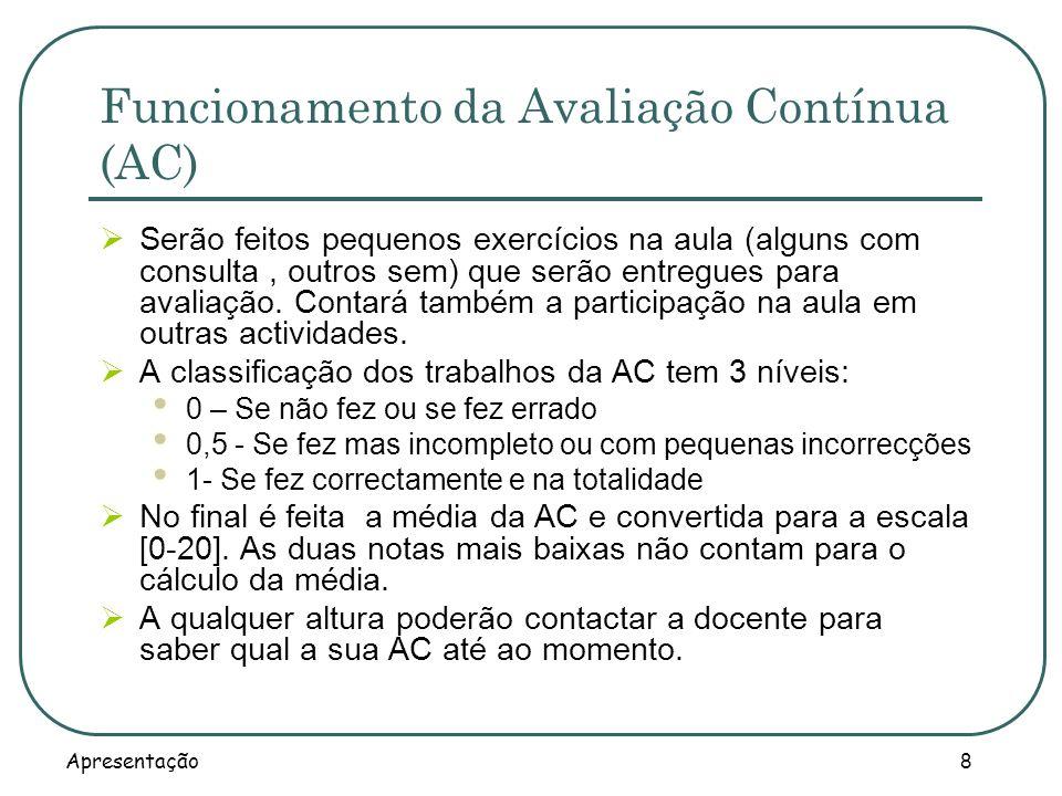 Funcionamento da Avaliação Contínua (AC)