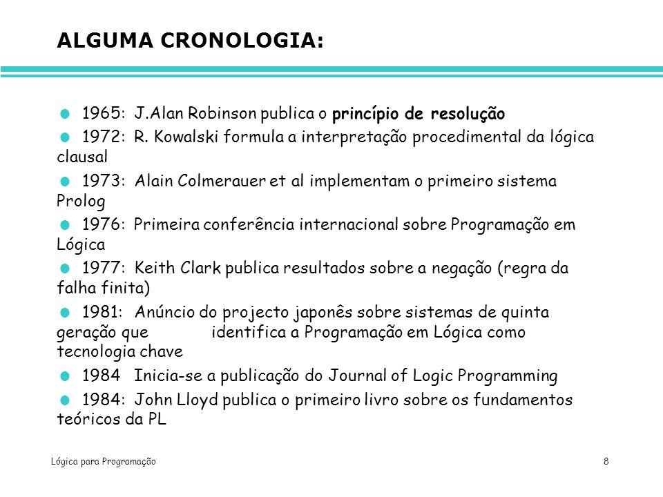 ALGUMA CRONOLOGIA: 1965: J.Alan Robinson publica o princípio de resolução. 1972: R. Kowalski formula a interpretação procedimental da lógica clausal.