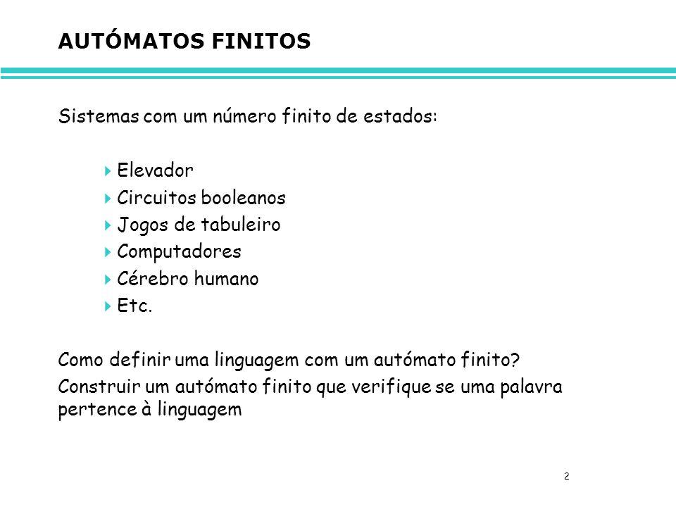 AUTÓMATOS FINITOS Sistemas com um número finito de estados: Elevador