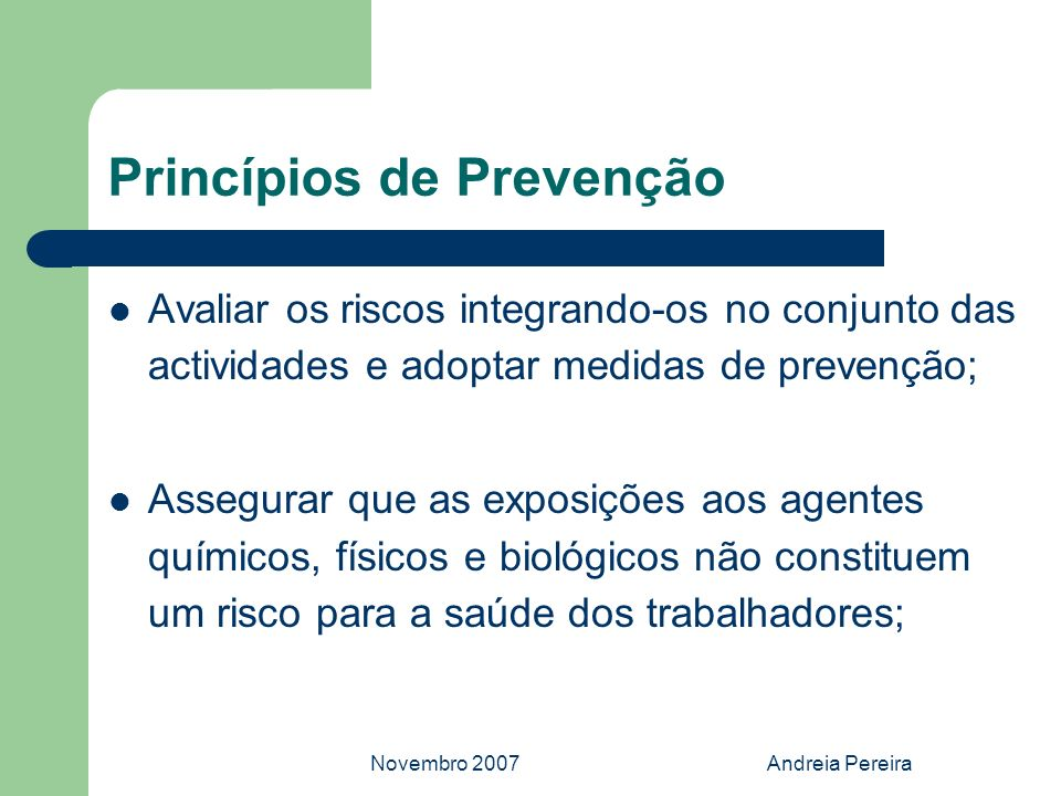 Princípios de Prevenção