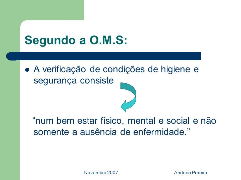 Segundo a O.M.S:A verificação de condições de higiene e segurança consiste.