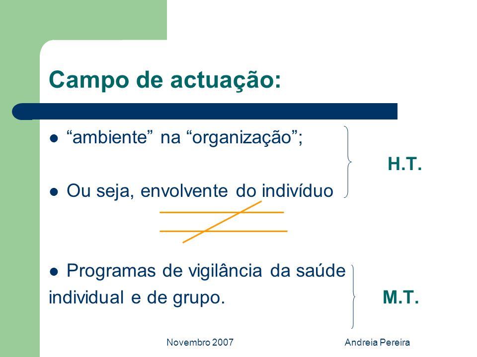 Campo de actuação: ambiente na organização ; H.T.