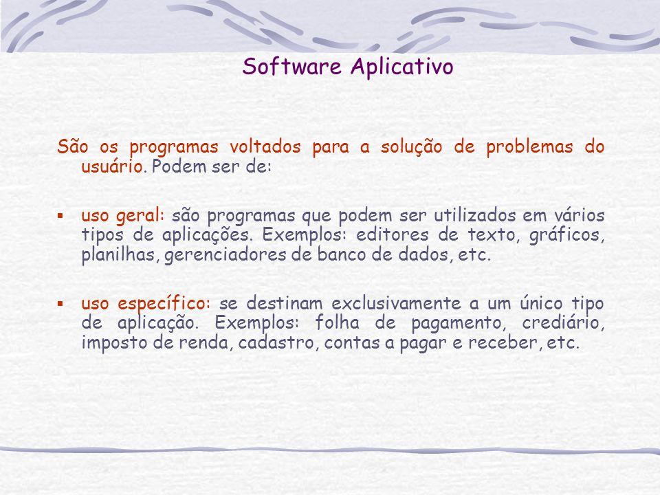 Software AplicativoSão os programas voltados para a solução de problemas do usuário. Podem ser de: