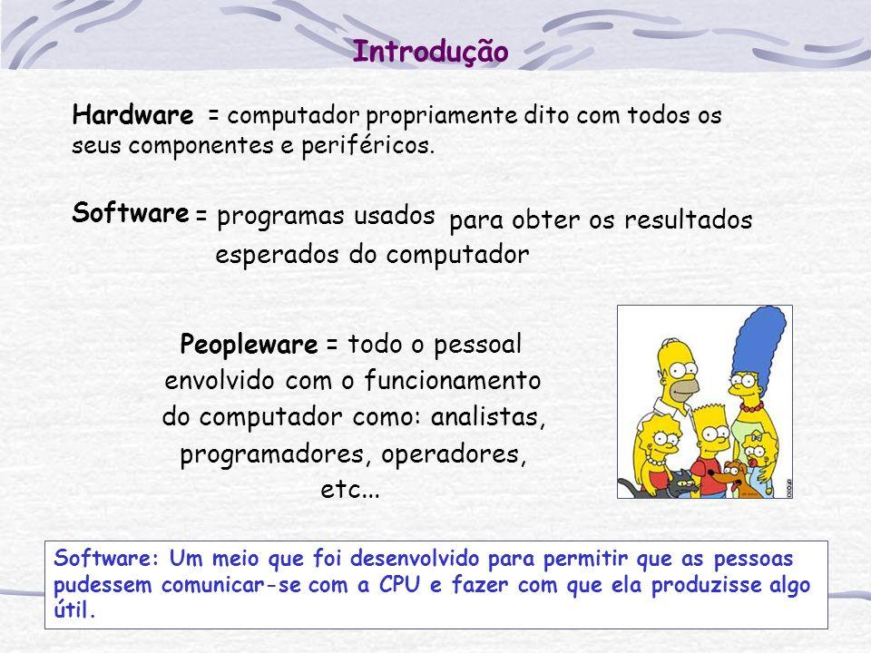 Introdução Hardware = computador propriamente dito com todos os seus componentes e periféricos. Software.