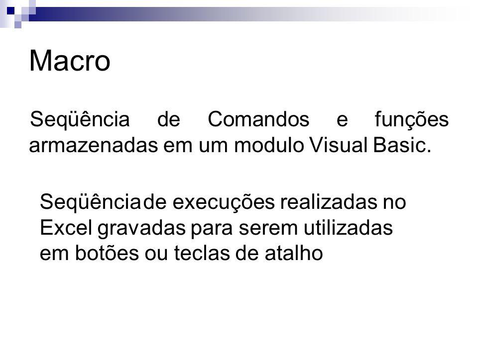 Macro Seqüência de Comandos e funções armazenadas em um modulo Visual Basic.