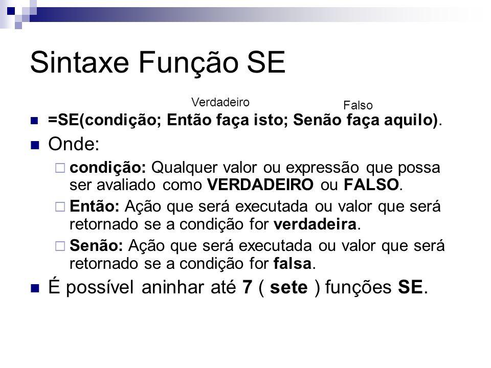 Sintaxe Função SE Onde: É possível aninhar até 7 ( sete ) funções SE.