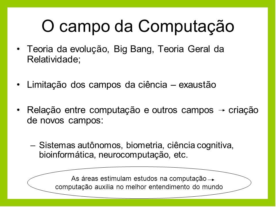 O campo da Computação Teoria da evolução, Big Bang, Teoria Geral da Relatividade; Limitação dos campos da ciência – exaustão.
