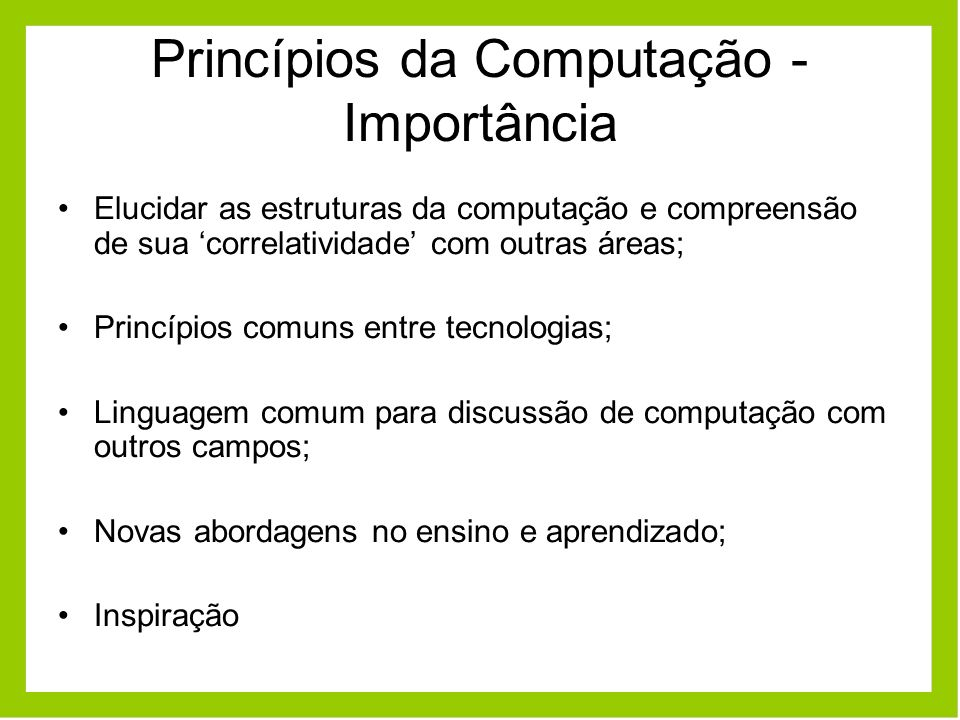 Princípios da Computação - Importância