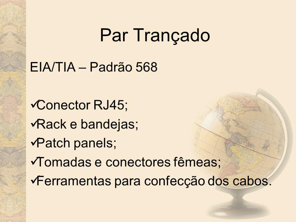 Par Trançado EIA/TIA – Padrão 568 Conector RJ45; Rack e bandejas;
