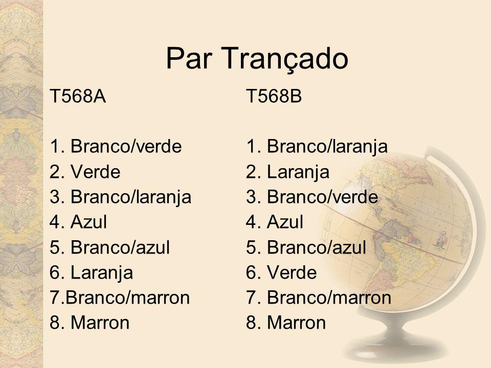 Par Trançado T568A T568B 1. Branco/verde 1. Branco/laranja