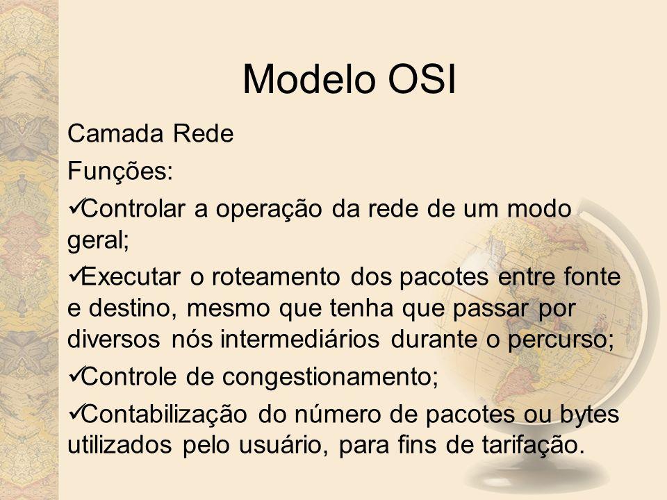 Modelo OSI Camada Rede Funções: