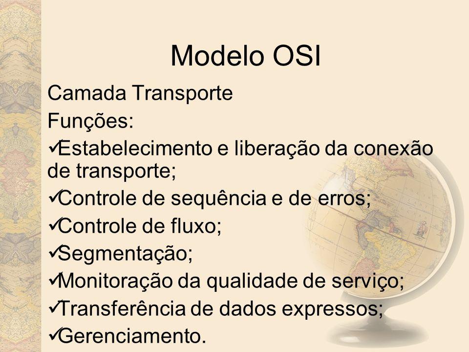 Modelo OSI Camada Transporte Funções: