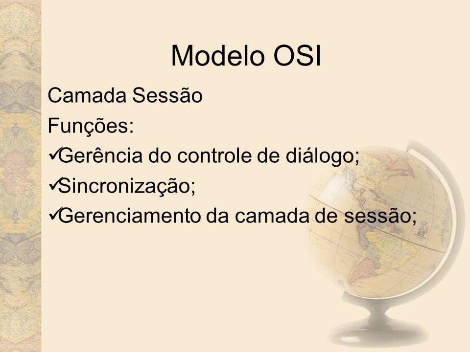 Modelo OSI Camada Sessão Funções: Gerência do controle de diálogo;