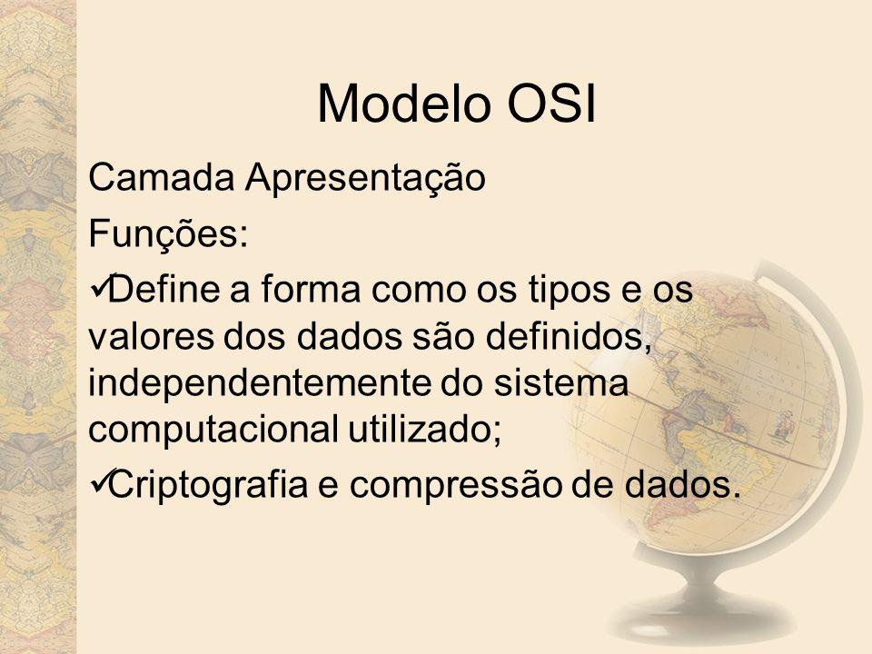 Modelo OSI Camada Apresentação Funções: