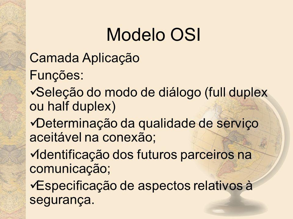 Modelo OSI Camada Aplicação Funções: