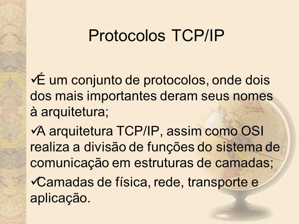 Protocolos TCP/IP É um conjunto de protocolos, onde dois dos mais importantes deram seus nomes à arquitetura;