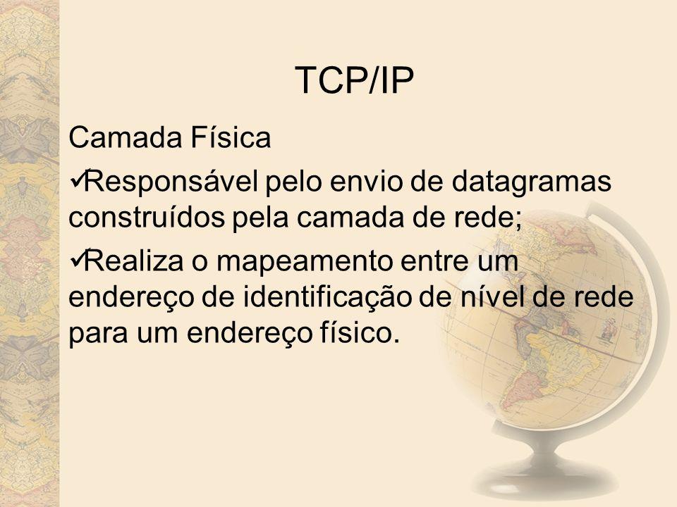 TCP/IP Camada Física. Responsável pelo envio de datagramas construídos pela camada de rede;
