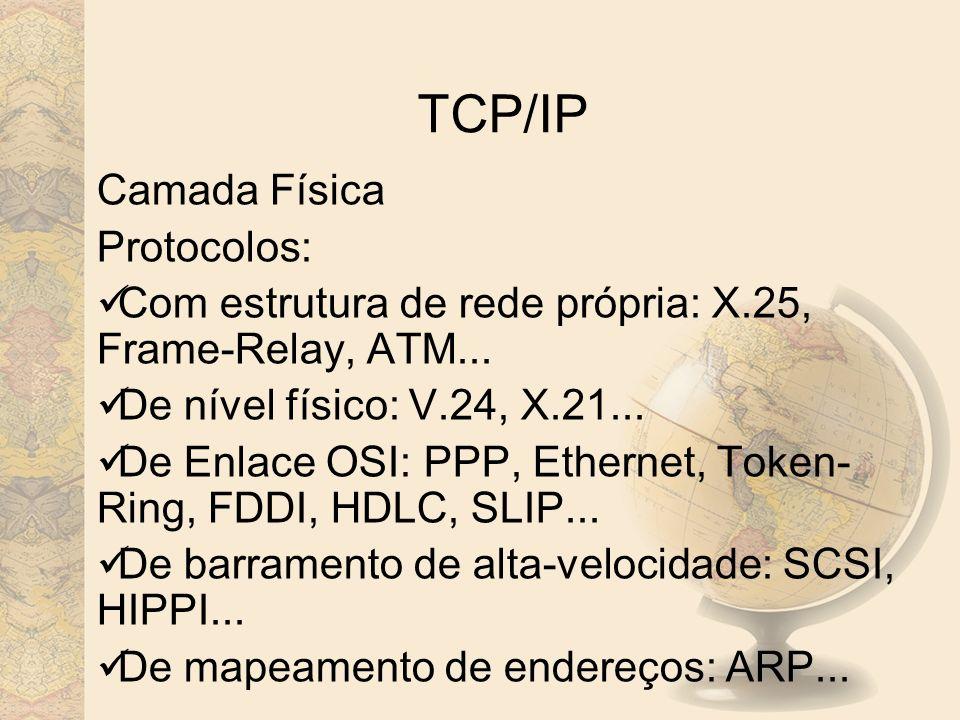 TCP/IP Camada Física Protocolos: