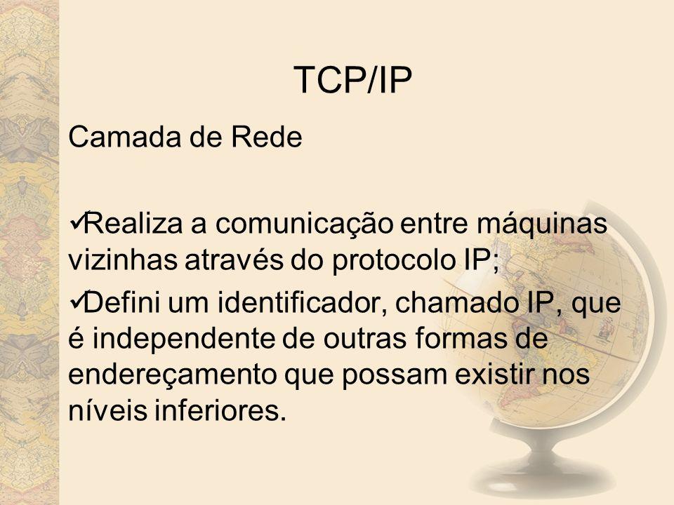 TCP/IP Camada de Rede. Realiza a comunicação entre máquinas vizinhas através do protocolo IP;