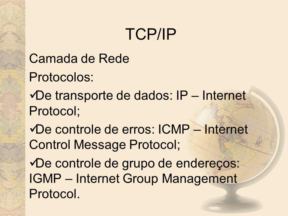 TCP/IP Camada de Rede Protocolos: