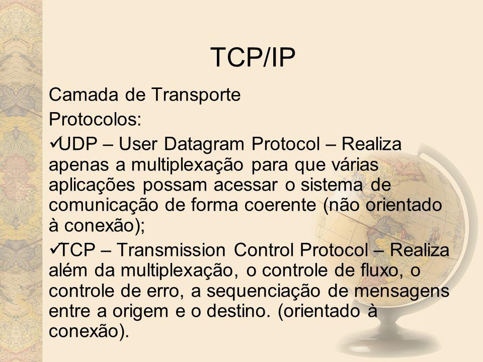 TCP/IP Camada de Transporte Protocolos:
