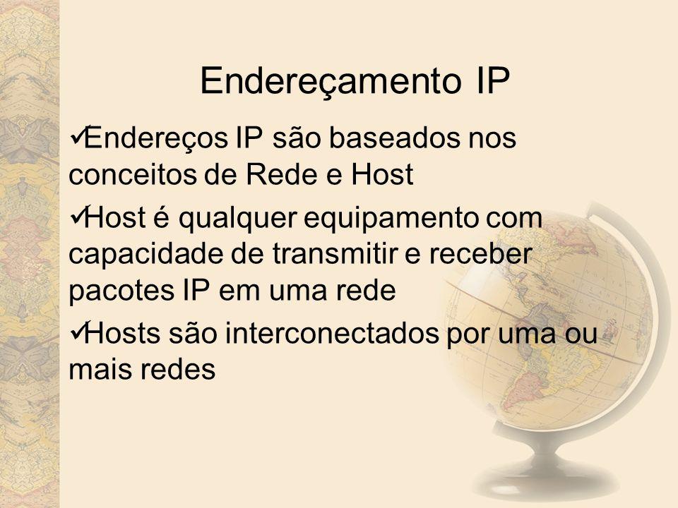 Endereçamento IP Endereços IP são baseados nos conceitos de Rede e Host.