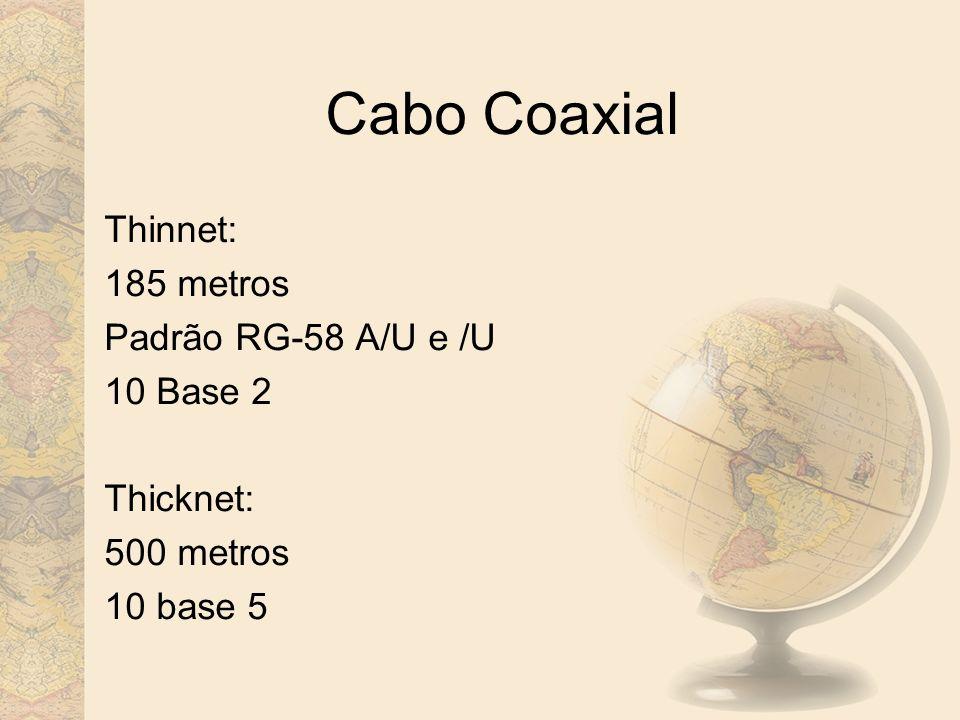 Cabo Coaxial Thinnet: 185 metros Padrão RG-58 A/U e /U 10 Base 2