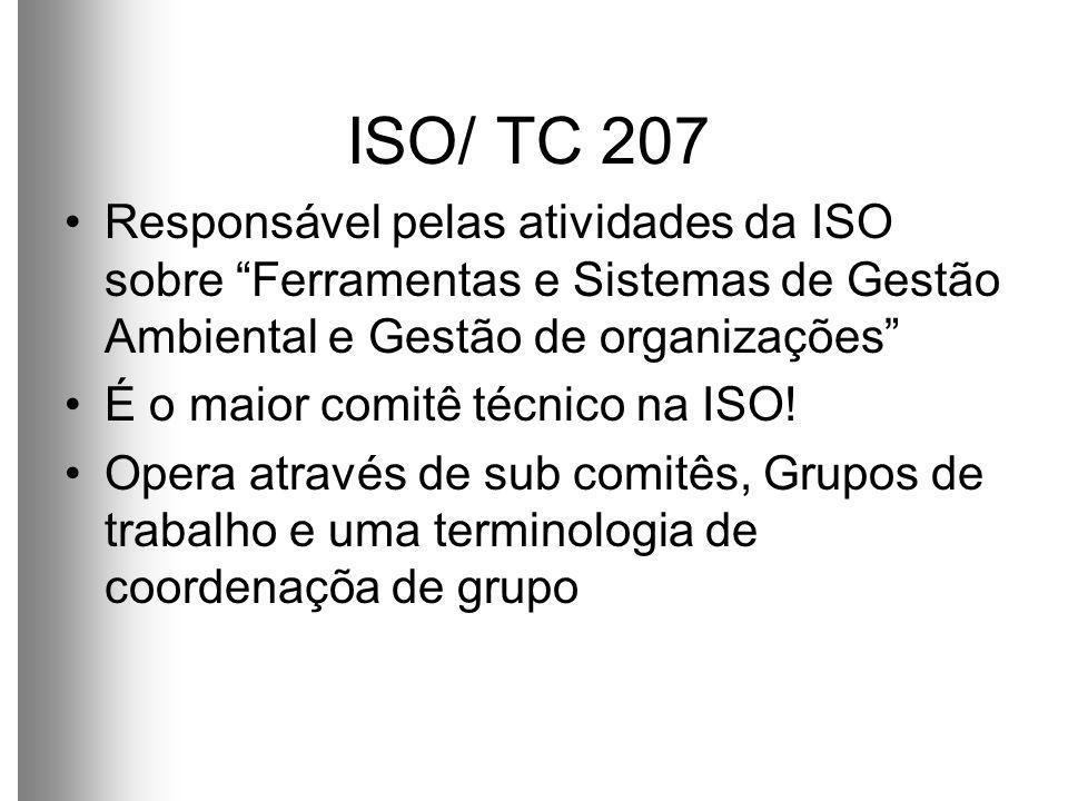 ISO/ TC 207 Responsável pelas atividades da ISO sobre Ferramentas e Sistemas de Gestão Ambiental e Gestão de organizações