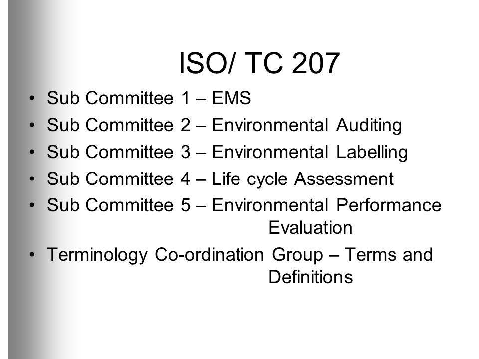 ISO/ TC 207 Sub Committee 1 – EMS
