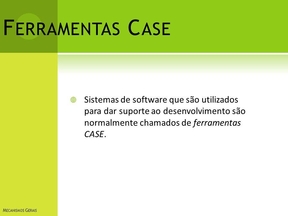 Ferramentas Case Sistemas de software que são utilizados para dar suporte ao desenvolvimento são normalmente chamados de ferramentas CASE.