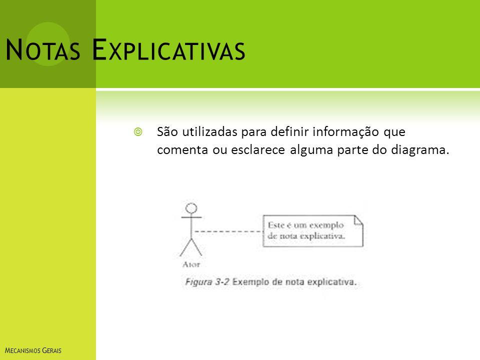 Notas Explicativas São utilizadas para definir informação que comenta ou esclarece alguma parte do diagrama.