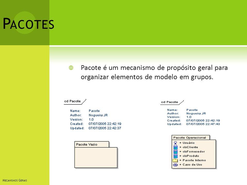Pacotes Pacote é um mecanismo de propósito geral para organizar elementos de modelo em grupos.