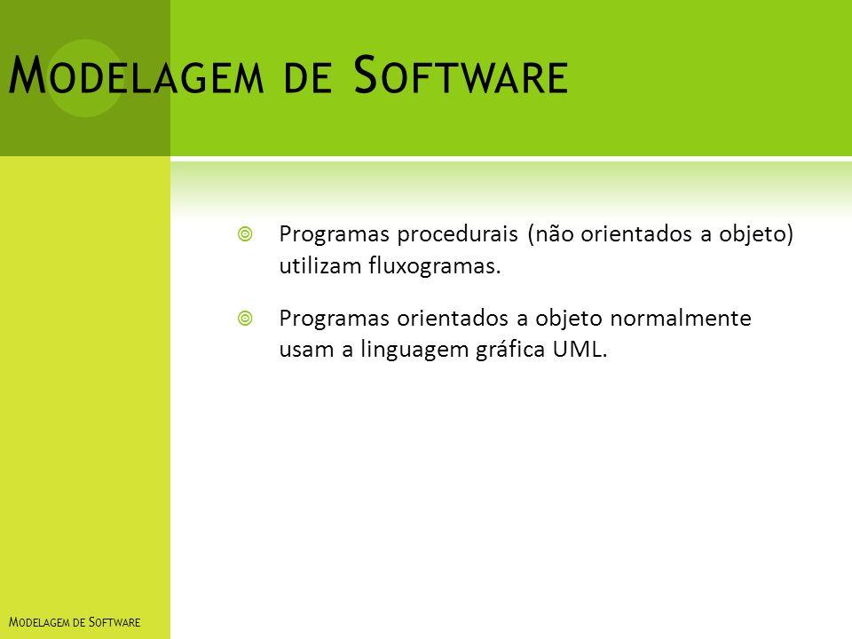 Modelagem de Software Programas procedurais (não orientados a objeto) utilizam fluxogramas.