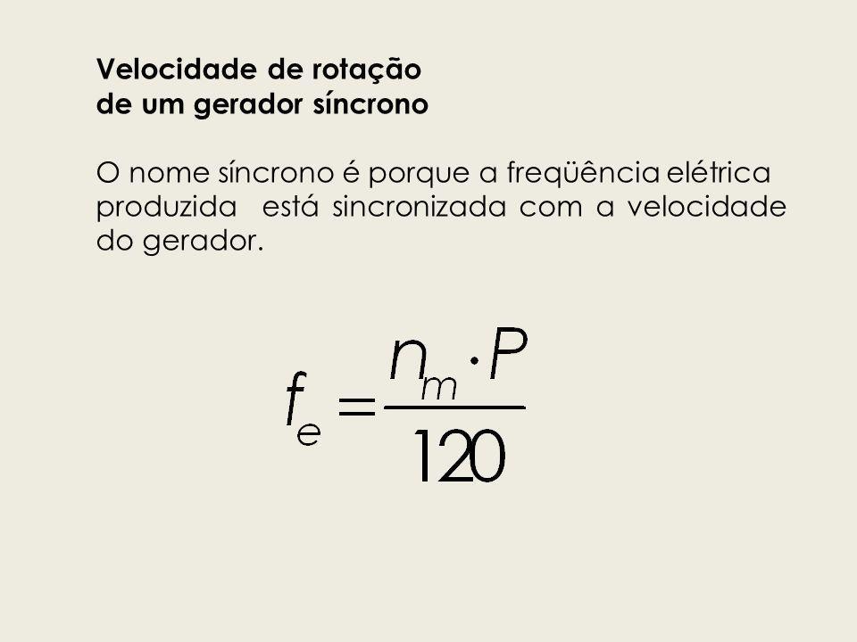 Velocidade de rotação de um gerador síncrono. O nome síncrono é porque a freqüência elétrica.