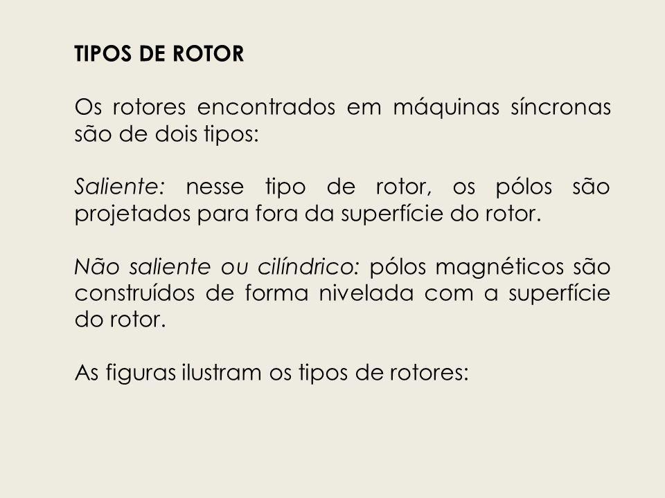 TIPOS DE ROTOR Os rotores encontrados em máquinas síncronas são de dois tipos: