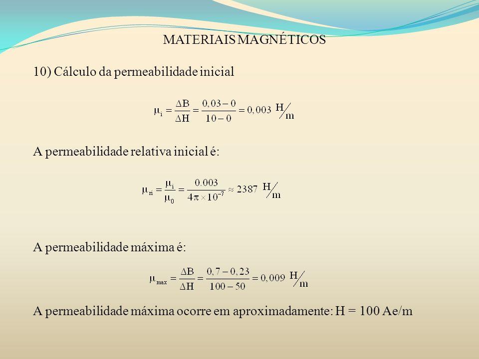 MATERIAIS MAGNÉTICOS 10) Cálculo da permeabilidade inicial. A permeabilidade relativa inicial é: A permeabilidade máxima é: