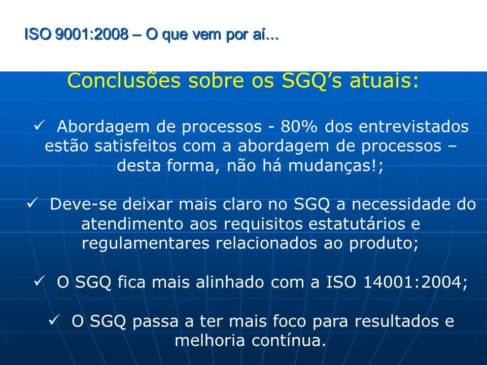 Conclusões sobre os SGQ's atuais: